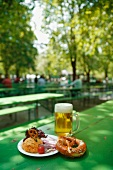 Snack time in the beer garden (Bavaria)