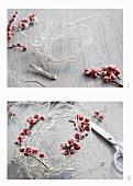 Kränzchen basteln aus weiß besprühten Birkenzweigen und Ilexbeeren