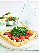 Lamb sausage, ricotta and spinach tarts