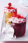 Jam in screw-top jars as wedding favours