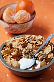 Cornflakes with walnuts and raisins