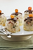 Small iced desserts with candied fruits