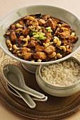 Sichuanhähnchen mit Cashews und Reisbeilage (China)