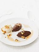 Chocolate and vanilla mousse with slivered almonds