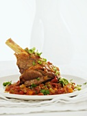Lamb shank with tomatoes and coriander