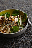 Lentil salad with mushrooms