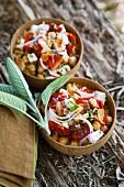 Bulgursalat mit Kichererbsen, Tomaten und Mandeln
