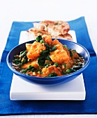 Potatoes with spinach and chickpeas