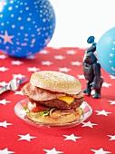 A cheeseburger with bacon