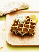 Waffles with crab and wasabi