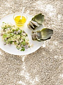Quinoa salad with artichoke hearts and avocado