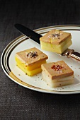 Fruit squares topped with goose liver