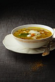 Minestrone in a soup bowl