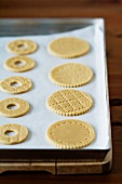 Unbaked shortcrust pastry biscuits