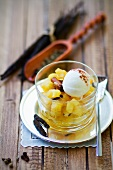 Spiced pineapple salad with cream cheese ice cream