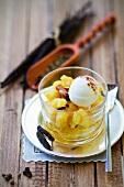 Spiced pineapple salad with cream cheese ice cream