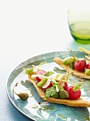 Flatbread with radishes, beans and giant capers