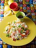 Rice salad with prawns, avocado and cucumber