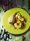Apple and pear with white wine and toasted slivered almonds
