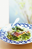Asparagus lasagne with peas and beans