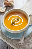 Pumpkin soup with a garnish
