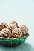 Chocolate truffles coated with dessicated coconut