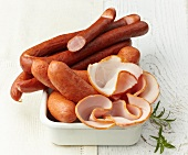 Assorted sausages and ham
