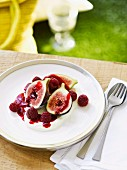 Figs with raspberry and quark made from goat's milk