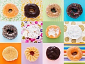 Selection of doughnuts on colorful background