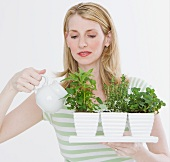 Woman watering herbs in pots