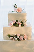 Flowers on the Top of a Decorated Cake