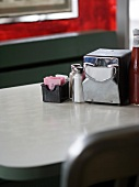 Still life of table in diner