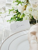 Brides wedding table setting, studio shot