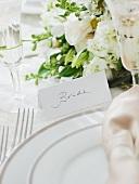 Brides wedding table setting, studio shot