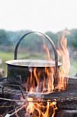Pot over campfire