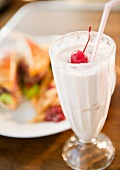 Close up of meal and milkshake