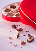 Close up of Valentine's Day chocolates, studio shot