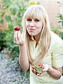 Woman About to Eat a Strawberry