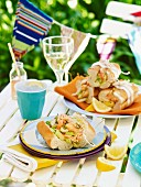 Prawn sandwiches for a picnic for Australia Day