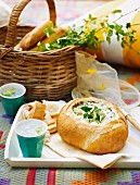 Bread filled with cream cheese and spinach dip, for a picnic for Australia Day