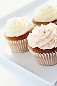 Three buttercream cupcakes