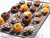 Assorted muffins and small Bundt cakes on a cooling rack
