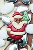 Chocolate Santa Claus on sugared almonds