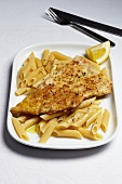 Breaded veal schnitzel with penne