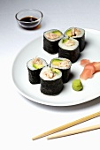 Maki sushi with avocado and crab