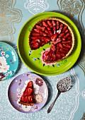 Strawberry and rhubarb tart