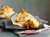 Muffin with sauerkraut and bacon filling