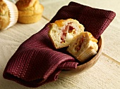 Muffin with cheese and bacon filling