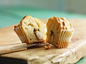 Muffin with garlic and herb filling