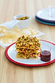 Phyllo dough bars with pistachios and syrup